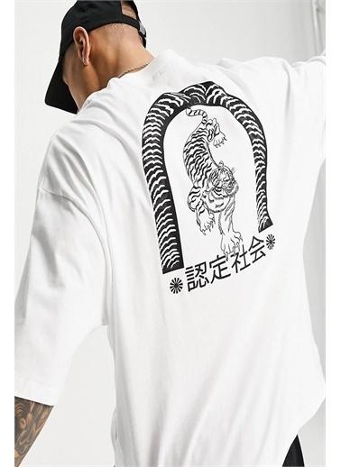 Oksit Tyson Bengal Tiger Baskılı Unisex Oversize Bisiklet Yaka Tshirt Beyaz